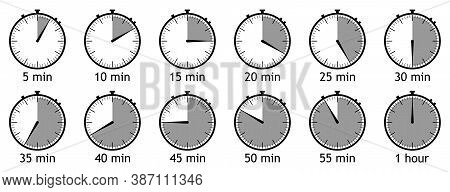 A Set Of Timers. Simple Vector Icons. Clock, Stopwatch. Countdown Timer. Circle Clock Counter. Vecto