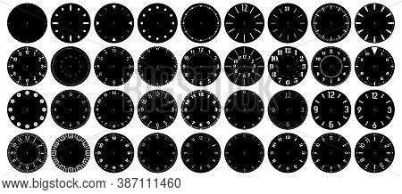 Minutes, Seconds And Hours Clockwise Marked On Clocks Watchface Precision Scale. Modern, Elegant And