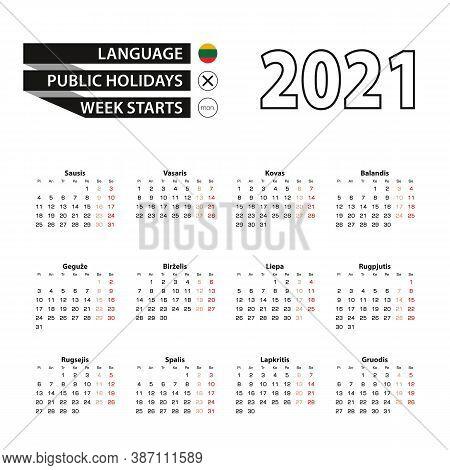 Calendar 2021 In Lithuanian Language, Week Starts On Monday. Vector Calendar 2021 Year.