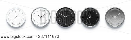 Office Watches With Seconds, Minutes And Hours Time Arrows On Modern Clock Face. Graphite Black, Cer