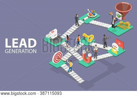 Lead Generation Strategy. Marketing Process Of Conversion Rate Optimization And Generating Business