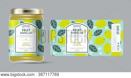 Label And Packaging Of Lemon Marmalade. Jar With Label. Text In Frame With Stamp (sugar Free) On Sea