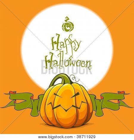 Halloween background with spiteful pumpkin