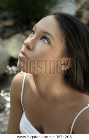 Close Up Of Young Model Looking Up