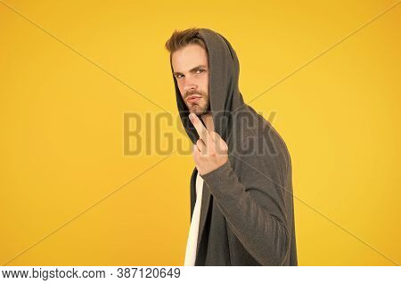 Rude And Bad. Rude Guy Show Middle Finger Yellow Background. Rude Hand Gesture. Sign Language. Rude