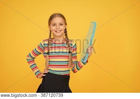 Hairdresser Supplies. Large Comb. Girl Long Hair Hold Enormous Comb. Hairdresser Salon. Combing Hair