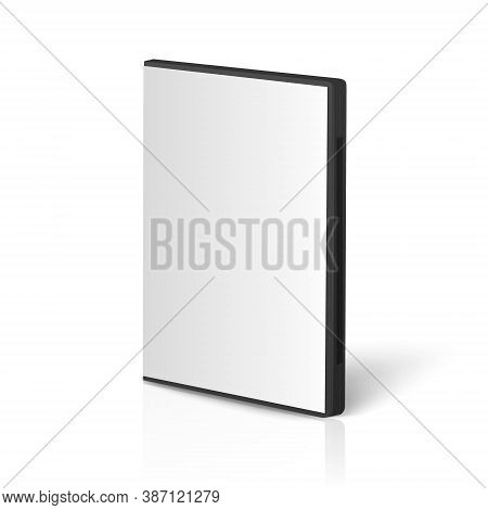 Vector 3d Realistic Cover Box For Cd, Dvd Closeup Isolated On White Background With Reflection. Desi