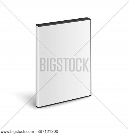 Vector 3d Realistic Cover Box For Cd, Dvd Closeup Isolated On White Background. Design Template For