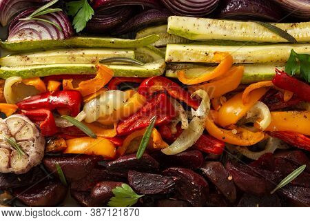 Background Of Stewed Vegetables, Carrots With Garlic And Red Onions, Zucchini With Bell Pepper And B