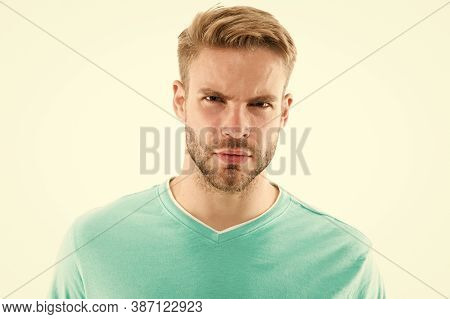 Allowing Beard To Grow For Sexy Reasons. Unshaven Man Isolated On White. Serious Guy With Unshaven S