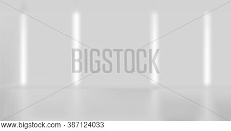 Modern Empty Studio Background With Lamps And Glow And Blue Effect. 3d Studio Room Background For Ph