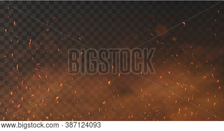 Fire Sparks Background On A Transparent Background. Burning Hot Sparks, Embers Burning Cinder And Sm