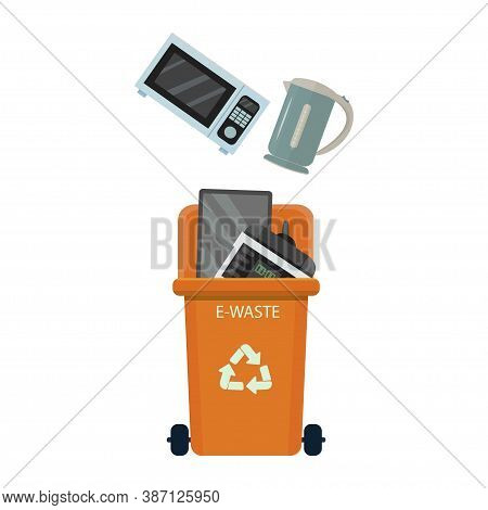 Trash Can With E-wast. Sorting Management, Ecology Concept. Container With Monitor, Microwave, Slow