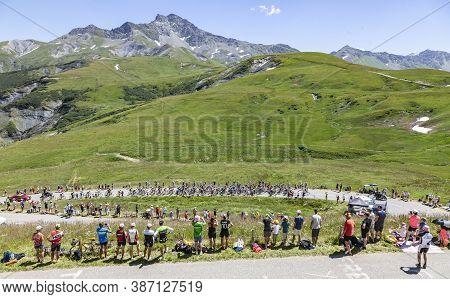 Saint-francois-longchamp, France - July 19, 2018: The Peloton Climbing The Road To Col De La Madelei