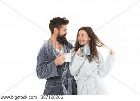 Couple In Love. Morning Coffee. Happy Couple Drink Coffee. Happy Family Breakfast. Morning At Home.
