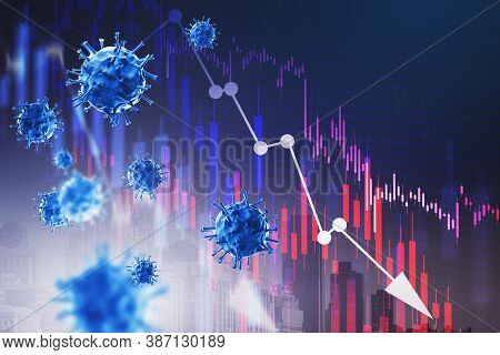 Declining Graphs And Covid 29 Over Blue Background. Concept Of Coronavirus Pandemic Declining. 3d Re