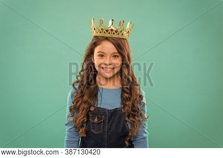 Gorgeous Hair Award. Kid Wear Golden Crown Symbol Of Princess. Girl Cute Baby Wear Crown Blue Backgr