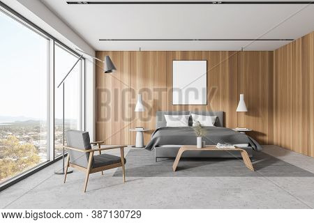 Interior Of Modern Master Bedroom With White And Wooden Master Bedroom Corner With Concrete Floor, C