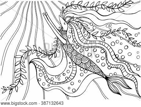 Coloring Book With A Fabulous Unicorn Seahorse, Beautiful Underwater Fairy Tale, Hand-drawn Illustra