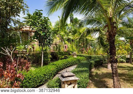 Bungalows In Tropical Thickets, Thailand, Use As Background