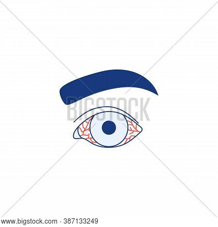 Conjunctivitis Icon Isolated On White Background. Watery Red Eye Thin Line Logo. Viral Infection Sea