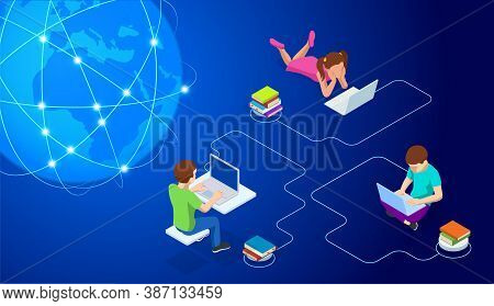 E-learning, Online Education At Home. Isometric Concept For Digital Reading, E-classroom Textbook, M