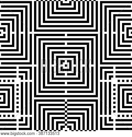 Checks, Squares, Lines, Strokes, Curves Seamless Pattern. Geometrical Ethnic Ornament. Folk Motif. E