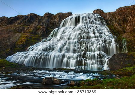Dynjandi is the most famous waterfall of the West Fjords and one of the most beautiful waterfalls in the whole Iceland. It is a cascade of waterfalls of which the one on the photo is the largest one.