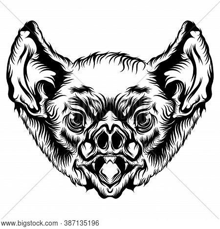 The Bat Head With Black Outline For The Tattoo Ideas