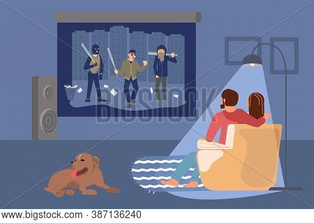 A Young People Sitting On A Couch And Watching A Movie. Online Home Theater. Flat Art Vector Illustr