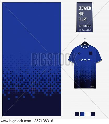 Geometry Pattern On Blue Gradient Background For Soccer Jersey, Football Kit, Bicycle, E-sport, Bask