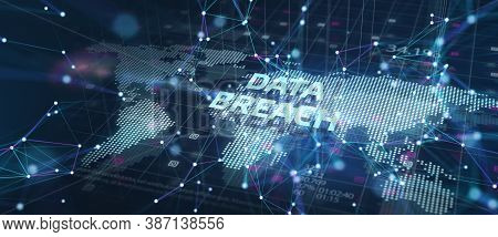 Business, Technology, Internet And Networking Concept. Data Breach On The Virtual Display. 3d Illust