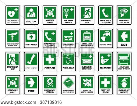Set Of Safety Condition Collection Symbol Sign, Vector Illustration, Isolated On White Background La