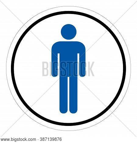 Men's Restroom Symbol Sign, Vector Illustration, Isolate On White Background Label. Eps10