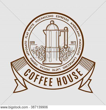 Coffee House Logo Design Template. Emblem, Label, Sticker Elements For Cafe And Restaurant. Vector I