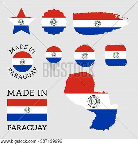 Set Of Flags Of Paraguay. Vector Illustration Eps