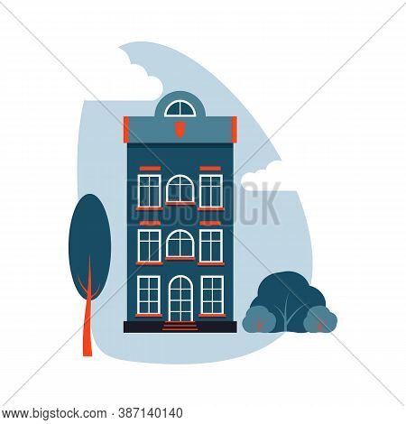 Cartoon Colorful Architecture Amsterdam, Exterior Classic Building Facade Flat Style With Tree, Bush