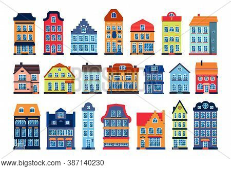 Cartoon Houses Colorful Architecture Amsterdam Set. Different Graphic Icon Townhouse, European Style