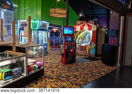 Seaside, Oregon - July 31, 2020: Inside A Vintage Funland Arcade In The Seaside Carousel Mall, With