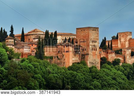 Granada Alhambra panoramic view over mountain in Spain.