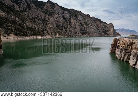 Teal Water Of The Reservoir At Buffalo Bill Dam In Cody Wyoming