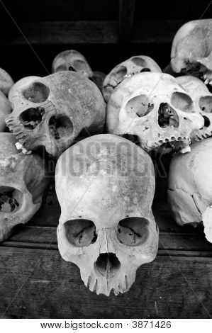 Skulls at The Killing Fields at Choeung Ek Cambodia.These skulls are those of victims of torture during Pol Pot's regime found on site at the killing fields.They are stacked on shelves inside a stupa memorial at the site. poster