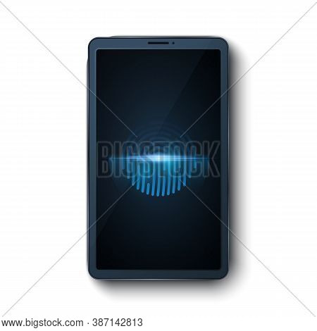 Modern Smartphone With A Fingerprint Scanner Isolated On White Background. Biometric Scanner. Touch