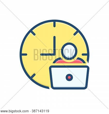Color Illustration Icon For Man-hour Man Work Laptop Hour Hourly