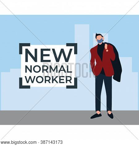 New Normal Worker Wearing Masker - Flat Illustrations Isolated On White