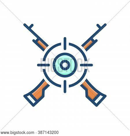 Color Illustration Icon For Marksman Sharpshooter Tirailleur Target Gun