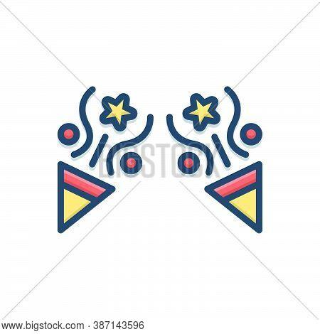 Color Illustration Icon For Party Celebration Fun Enjoy Decorate