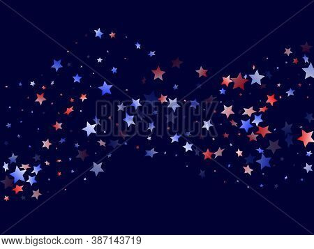 American Independence Day Stars Background. Confetti In Usa Flag Colors For Independence Day.  Festi