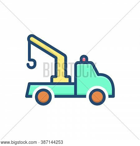 Color Illustration Icon For Tow-truck Tow Truck Transportation Carrier Crane
