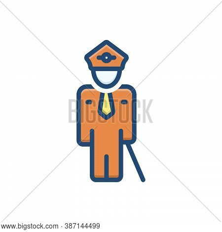Color Illustration Icon For Guard Security Defence Train Protection Profession Person